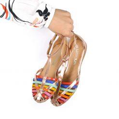 sandalias bajitas de mujer con diseño original de tiritas en cuero multicolor y base de cuero cobre