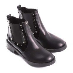 Botas elastco negras charol La Leopolda