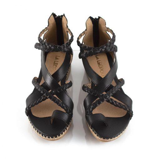sandalias de mujer a la moda tipo romanas de cuero negro graneado y diseño original