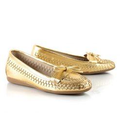 mocasines de mujer de cuero tramado metalizado dorado a la moda