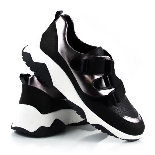 zapatillas urbanas de cuero metalizado