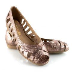 chatitas balerinas de cuero metalizado color cobre con puntera boca de pez a la moda
