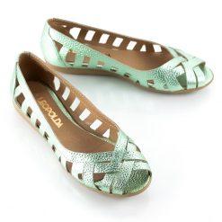 zapatos de mujer tipo chatitas balerinas de cuero verde metalizado calado con puntera boca de pez y diseño original