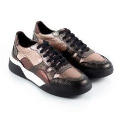 zapatillas de vestir para mujer con diseño original en mix de cueros negro, cobre y bordo metalizados