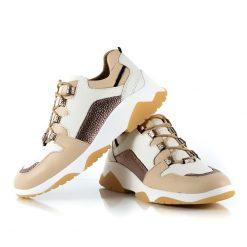zapatillas urbanas de mujer con diseño original en mix de cueros beige, blanco y cobre metalizado