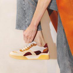 zapatillas de mujer urbanas de vestir en mix de cuero con diseño de moda