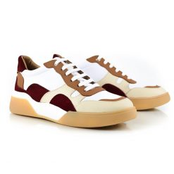 zapatillas urbanas de mujer a la moda en cuero bordo, beige y marron