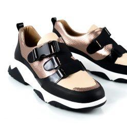 zapatillas urbanas de mujer con diseño original en cuero color cobre con elásticos