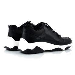 zapatillas de mujer en mix cueros negros
