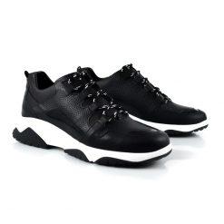 zapatillas urbanas de mujer en cuero negro