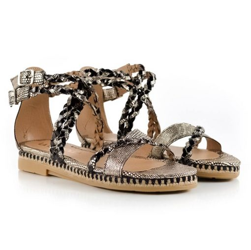 sandalias bajitas en cuero trenzado metalizado negro y dorado