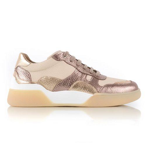 zapatillas urbanas de mujer de cuero metalizado con diseño original