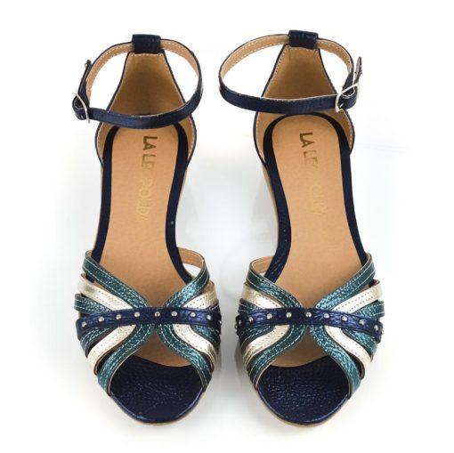 sandalias de mujer a la moda con diseño original en cuero metalizado