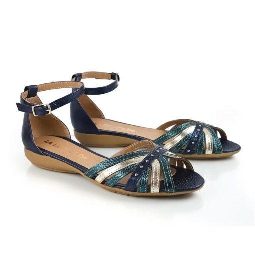 sandalias bajitas en cuero metalizado azul y petroleo