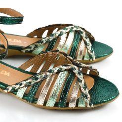 sandalias de mujer a la moda en cuero metalizado verde y platino