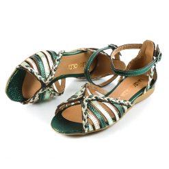 sandalias de mujer bajitas en cuero metalizado verde y platino