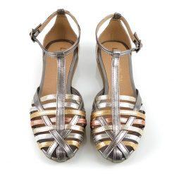 sandalias bajitas de mujer con tiritas en mix de cueros metalizados